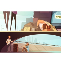 Homeless People Banners vector
