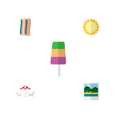 icon flat beach set of towel pictures beach vector image