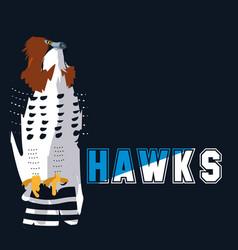Imposing hawks bird with word vector