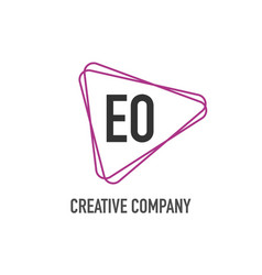 initial letter eo triangle design logo concept vector image