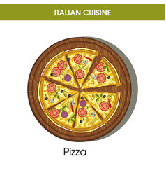 Italian cuisine pizza icon for restaurant vector