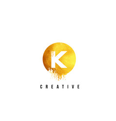 K gold letter logo design with round circular vector