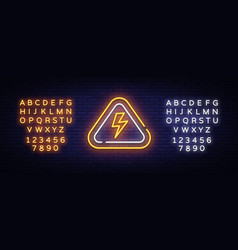 lightning bolt neon sign design template vector image