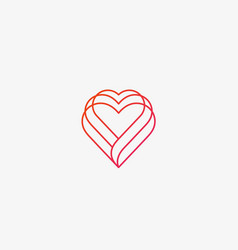 linear heart logo valentines day medical vector image