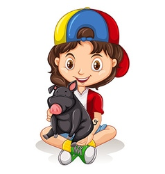 Little girl and black pig vector