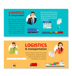 Logistics and transportation banners vector
