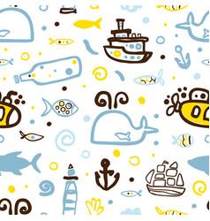 marine seamless pattern design nautical symbols vector image