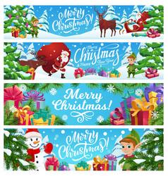 merry christmas banners cartoon santa claus vector image