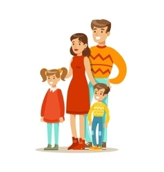 Mom dad and children happy family having good vector