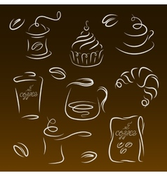 Morning breakfast Set of coffee logos vector image