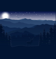 Mountain landscape with deer and forest at night vector