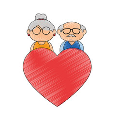 Old couple in love vector