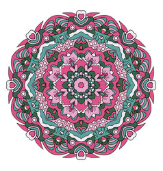 oriental ornament relaxing doodle drawing round vector image