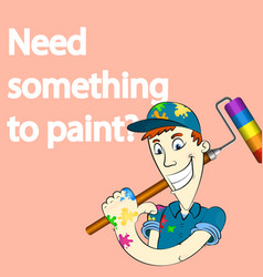 painter with paint roller banner vector image