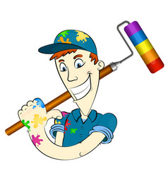 painter with roller for painting vector image