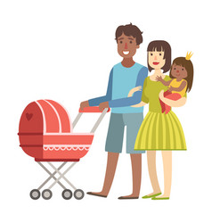 parents walking with baby in a stroller and and vector image