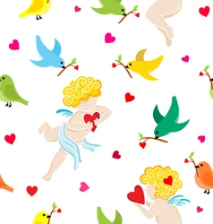 pattern with angels vector image