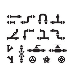 pipe icons metal industry water pipelines valve vector image