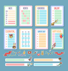 planner template set vector image