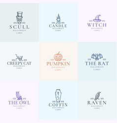 premium quality halloween logos or labels template vector image