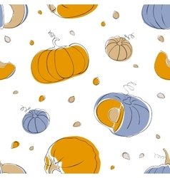 Pumpkin seamless pattern in light pastel colors vector image