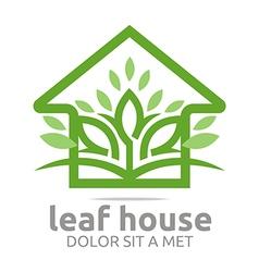 Real estate leaf house design icon vector