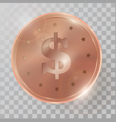 realistic 3d copperr coin vector image