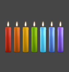 realistic detailed 3d color burning wax candles vector image