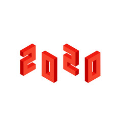 red 2020 numbers isometric object vector image