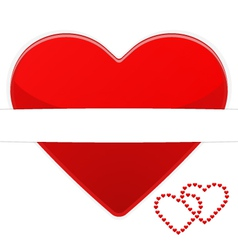 Red heart on a white background card vector