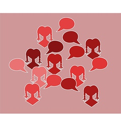 Red silhouette speak bubble vector