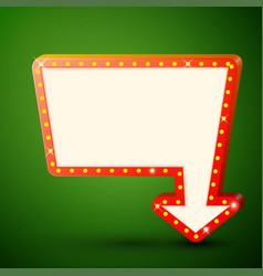 Retro billboard with shining lamps and arrow vector
