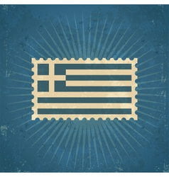Retro Greece Flag Postage Stamp vector image
