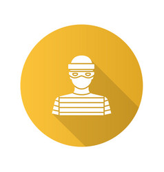 Robber flat design long shadow glyph icon vector