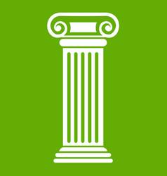 roman column icon green vector image