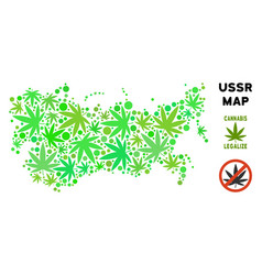 Royalty free cannabis leaves mosaic ussr map vector