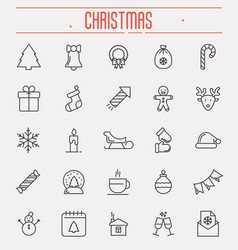 Set new year and christmas thin line icons vector