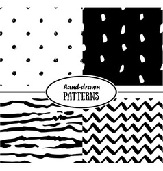Set of abstract seamless patterns in monochrome vector image