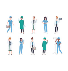 set of female medical workers bundle of women vector image