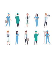 Set of female medical workers bundle of women vector