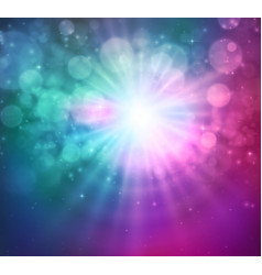 Shining sun bokeh and light magic background vector