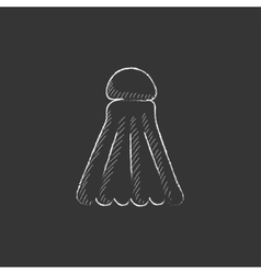 Shuttlecock Drawn in chalk icon vector