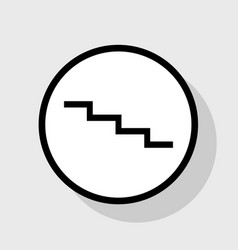Stair down sign flat black icon in white vector