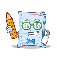 student with pencil notebook character cartoon vector image