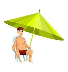 Summer beach activities guy sitting on a chair vector
