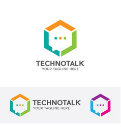 Technology talk logo vector