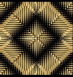 Textured gold 3d geometric seamless pattern vector