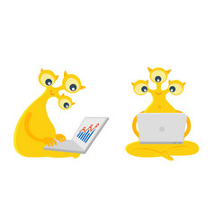 Three-eyed yellow alien character is sitting with vector