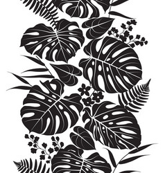 Tropical leaves silhouette pattern vector