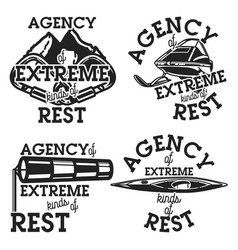 Vintage agency of extreme kinds of rest emblems vector
